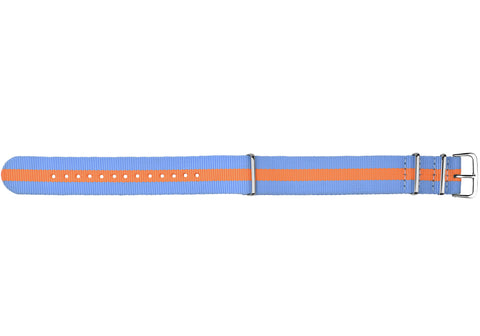 Blue and orange fabrics strap/  polished buckle