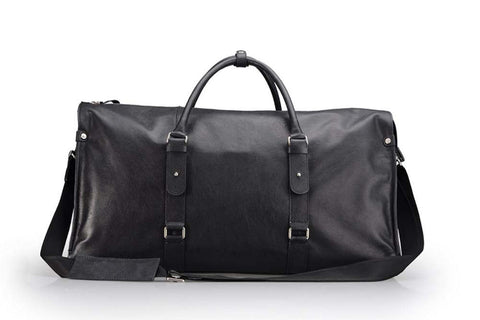Black Leather Traveling Duffel Bag With Shoulder Strap, 22-inch