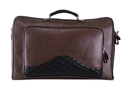 Executive Leather Travel Satchel Bag with Quilted Detail and Shoulder Strap, Extra Large, Brown and Black