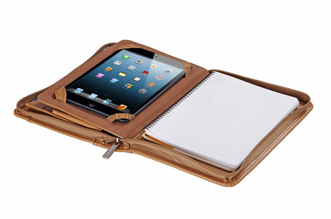 Compact Leather Padfolio with Wrist Strap for iPad Mini 4 / iPad Mini / Mini 2 and Jr. Legal Paper
