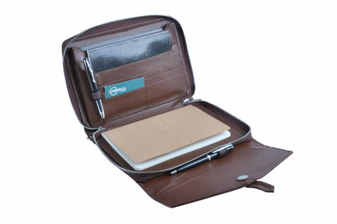 Compact Leather Organizer Padfolio with Envelope Styling, for Jr Legal / A5 Paper