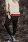 Women black rhombus baggy pants