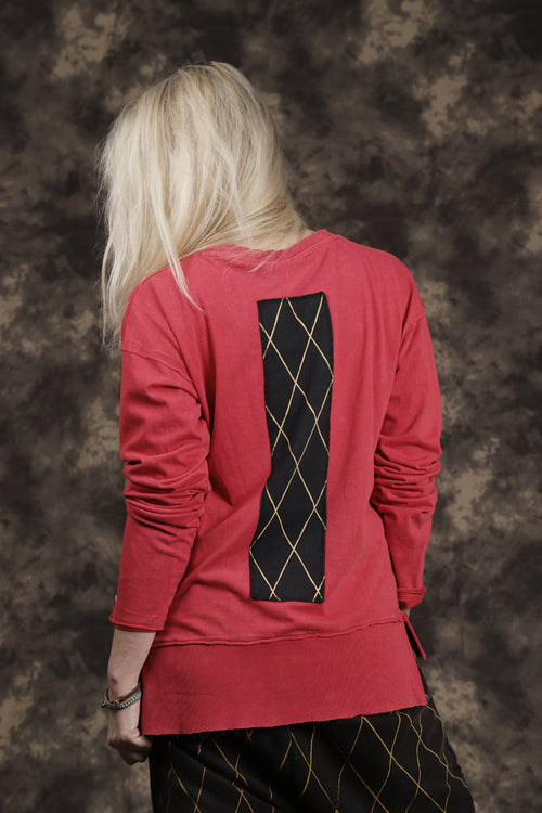Women red long T shirt