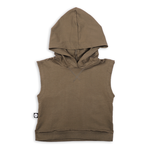 Teens khaki sleeveless hoodie with light orange color block line