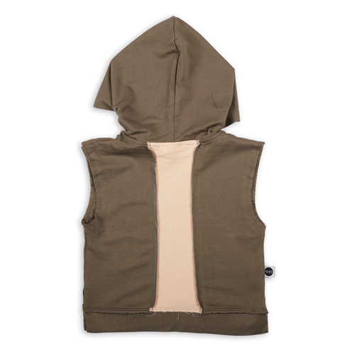 Kids khaki sleeveless hoodie with light orange color block line