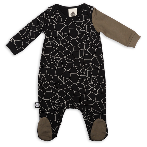 Black cracks print onesie