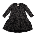 Girls black drop waist dress with cracks print