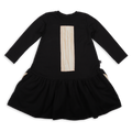 Girls black drop waist dress with ivory trees print patch