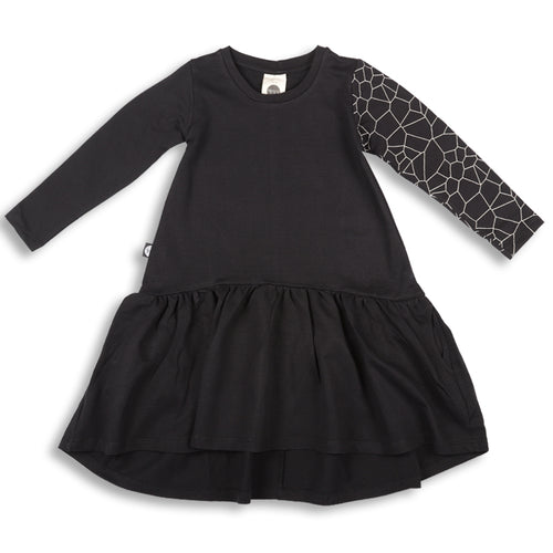 Girls black drop waist dress with cracks print sleeve