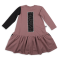 Girls dusty lavender with black print patch drop waist dress