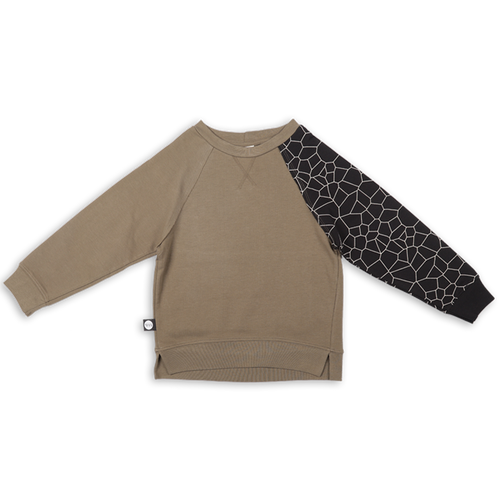 Baby khaki unisex sweatshirt with black patch