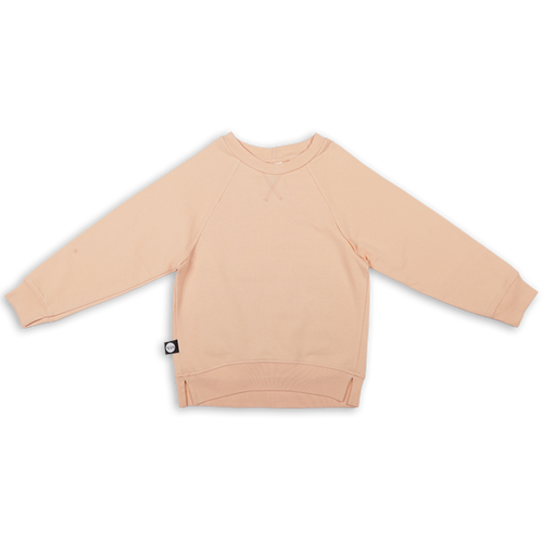 Baby light orange unisex sweatshirt with khaki patch