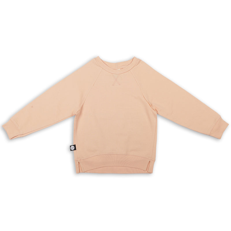 Teens light orange unisex sweatshirt with khaki patch