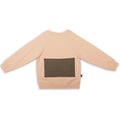 Kids light orange unisex sweatshirt with khaki patch