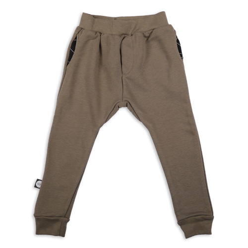 Baby khaki unisex straight pants with black cracks print patch