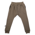 Teens khaki unisex straight pants with black cracks print patch