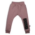 Teens dusty lavender unisex straight pants with black cracks print patch