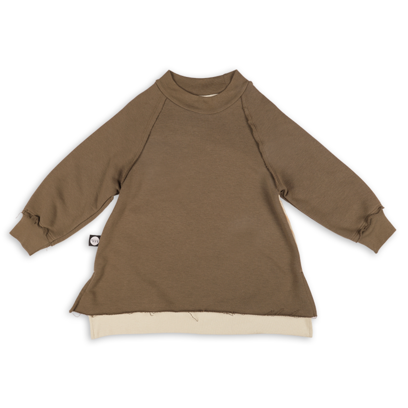 Girls khaki tunic sweatshirt with ivory trees print at the back