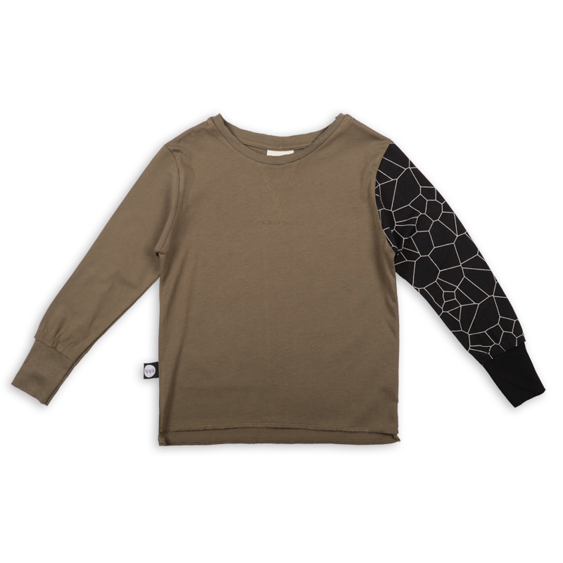 Baby khaki T shirt with black patch