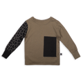 Kids khaki T shirt with black patch