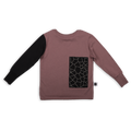 Kids dusty lavender T shirt with black cracks print patch