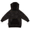 Teens black cracks print hoodie with black panels at the back