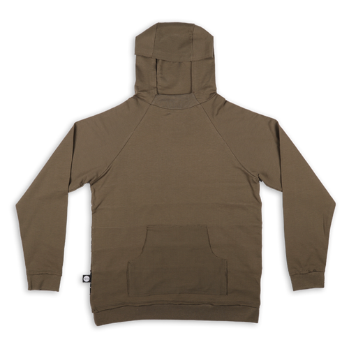 Women khaki hoodie with black cracks panels at the back