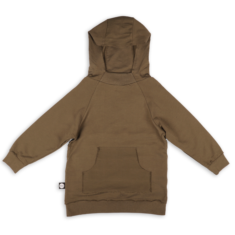 Teens khaki hoodie with black cracks panels at the back