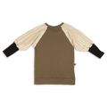 Teens khaki straight dress with ivory trees bat sleeves