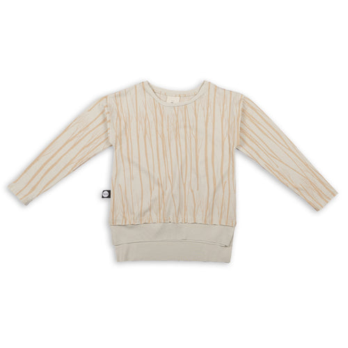 Ivory long T shirt with trees print