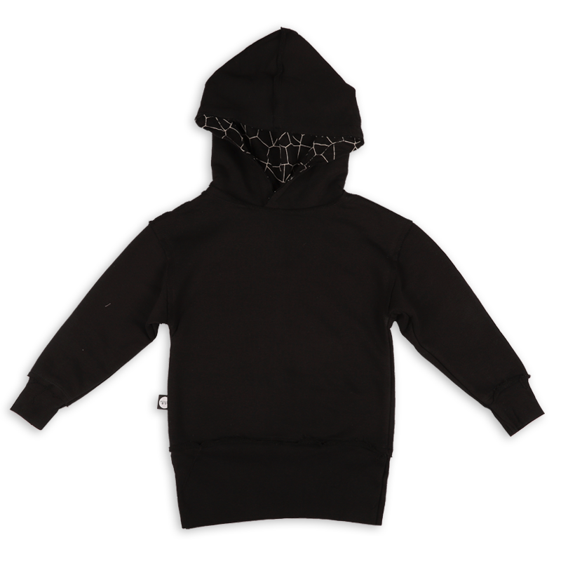 Teens black hoodie with black cracks panel at the back