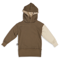 Teens khaki hoodie with ice grey trees panel at the back