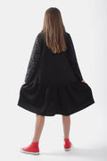 Teens black drop waist dress with cracks print sleeve