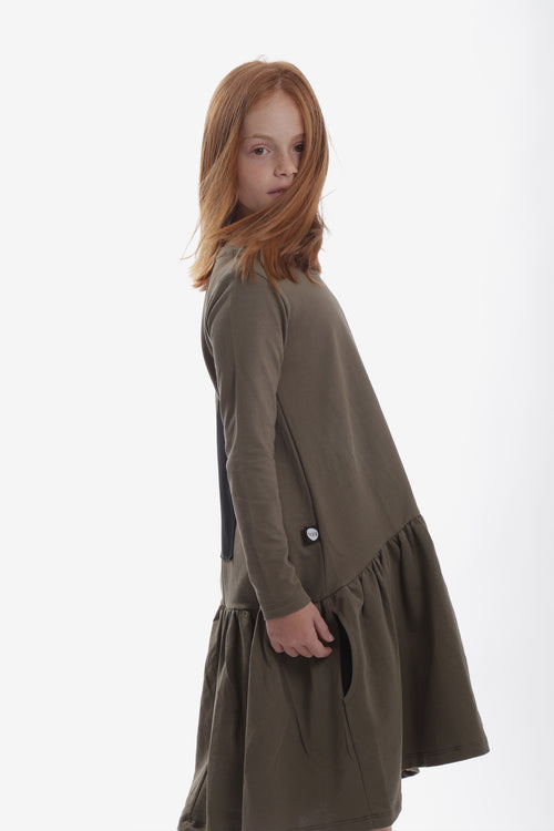 Girls khaki drop waist dress with black patch