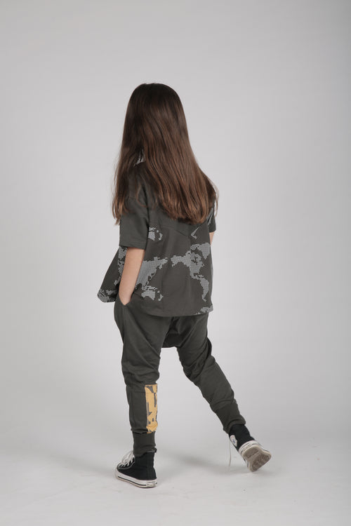 Girls charcoal A line shaped shirt with earth dot print
