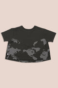 Teens charcoal A line shaped shirt with earth dot print