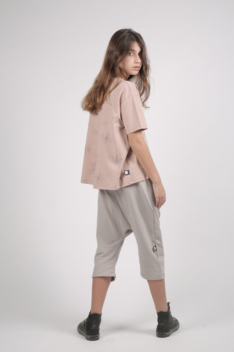 Teens Dusty pink A line shaped shirt with perspective print