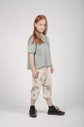 Kids nude 3\4 baggy pants with earth dot print