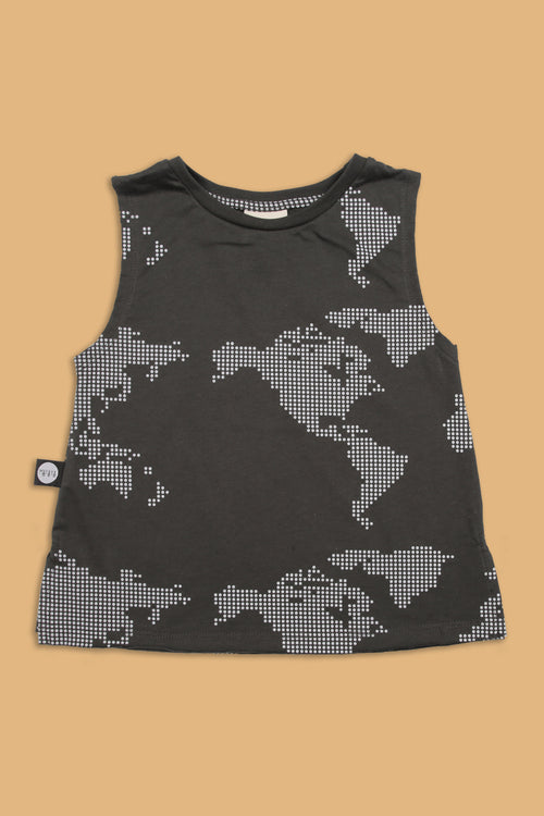Baby charcoal black tank with earth dot print