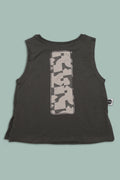 Kids charcoal black tank with patch