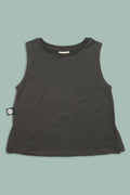 Baby charcoal black tank with patch