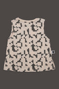 Kids nude tank with puzzle print