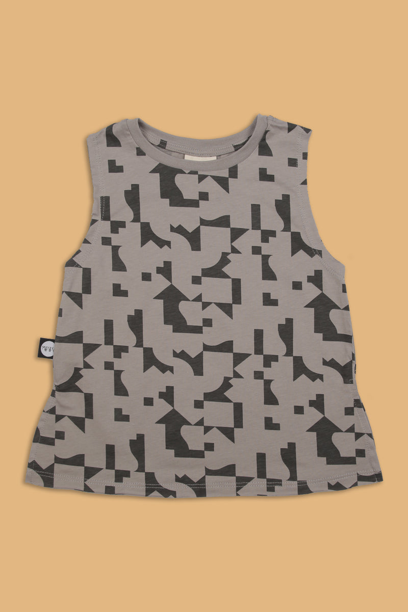 Teens grey tank with puzzle print