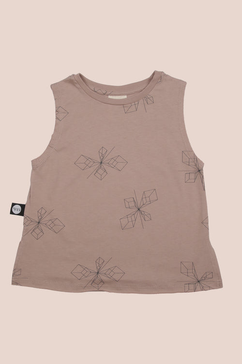 Teens dusty pink tank with perspective print