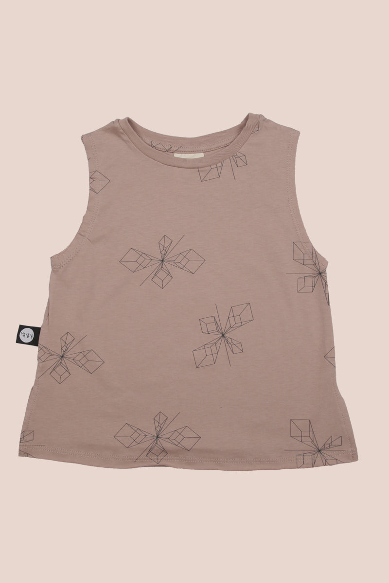 Kids dusty pink tank with perspective print