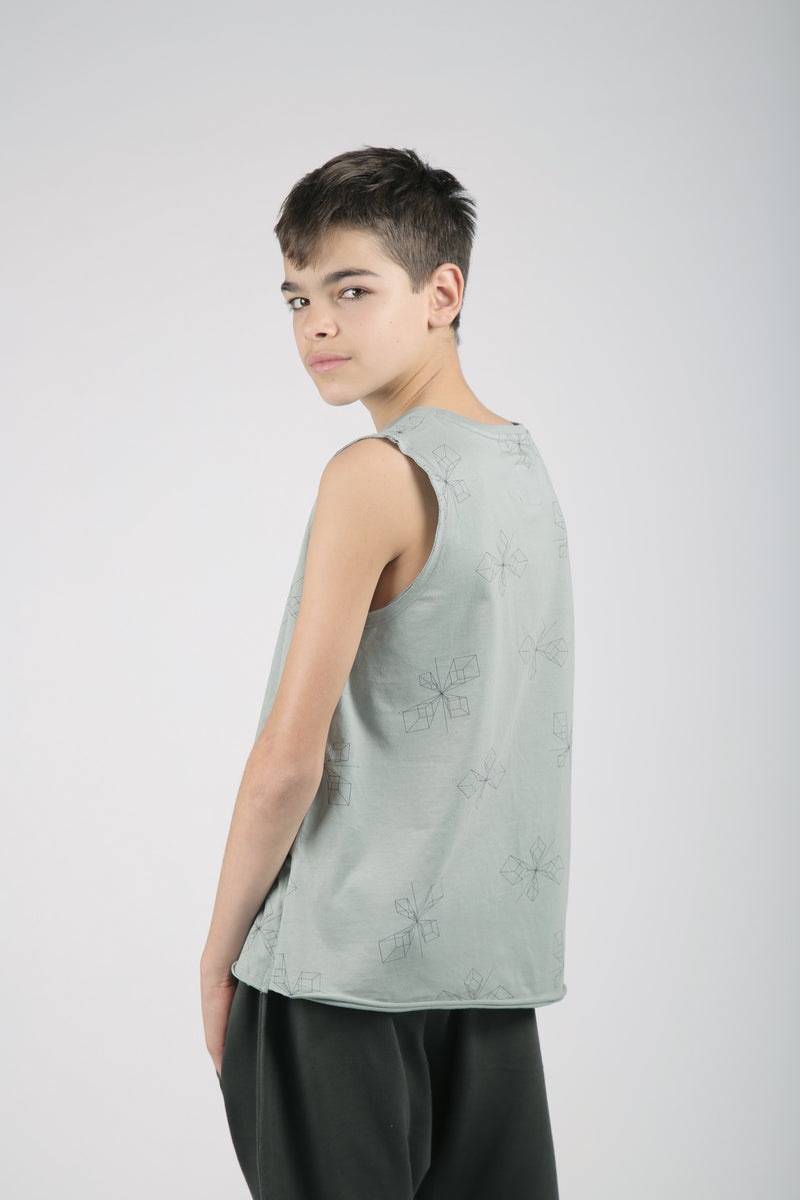 Teens dusty turkiz tank with perspective print