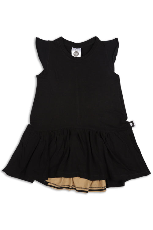 Girls Black drop waist dress