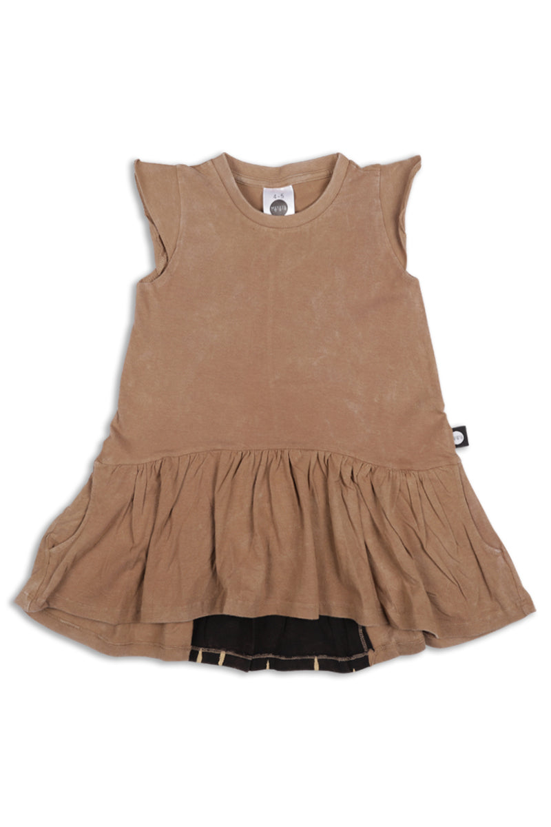 Teen girls dusty brown drop waist dress