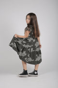 Girls charcoal drop waist dress with earth dot print