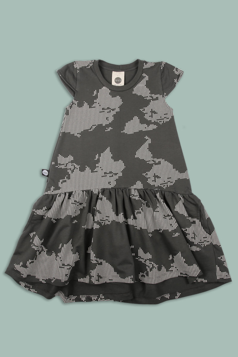 Teens charcoal drop waist dress with earth dot print